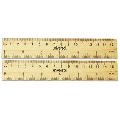 "Flat Wood Ruler, Standard/Metric, 6"""