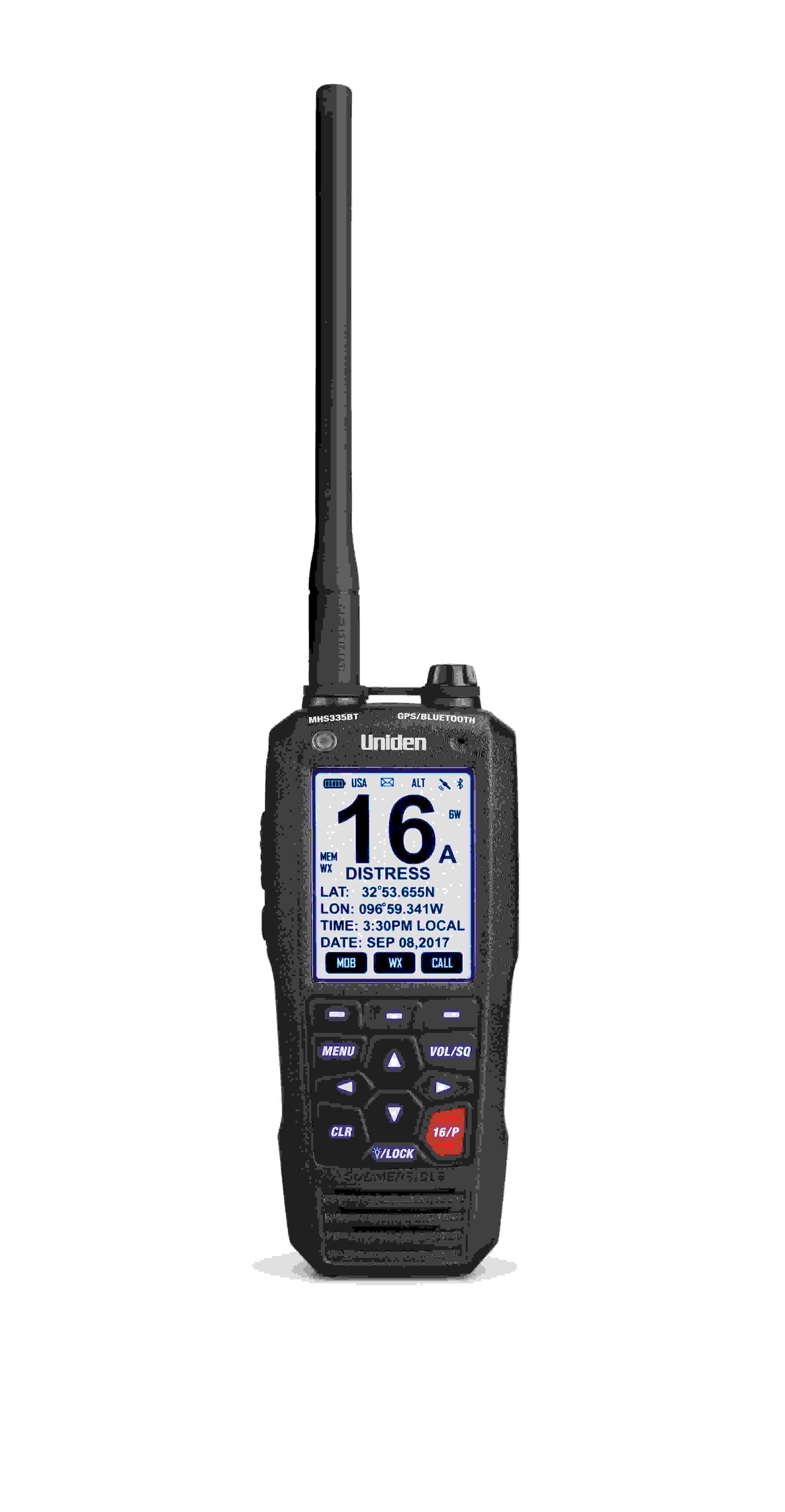UNIDEN- MHS335BT 6 WATT CLASS D FLOATING HANDHELD VHF MARINE RADIO WITH BLUETOOTH & DISTRESS CALL