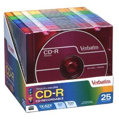 CD-R Discs, 700MB/80min, 52x, Slim Jewel Cases, Assorted Colors, 25/Pack
