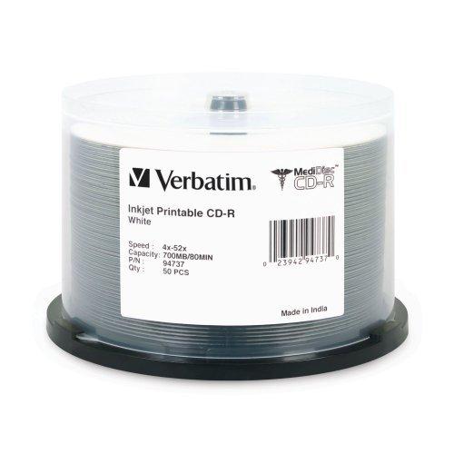MediDisc CD-R, 700MB, 52X, White Inkjet with Branded Hub, 50/PK Spindle