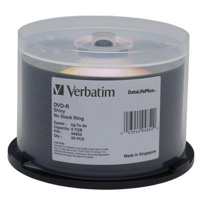 DataLifePlus DVD-R, 4.7GB, 8X, Shiny Silver Silk Screen Printable, 50/PK Spindle