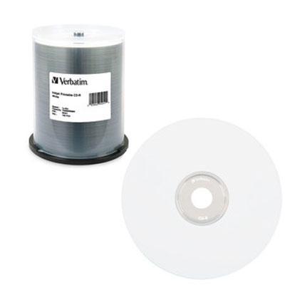 CD-R, 700MB, 52X, White Inkjet Printable, 100/PK Spindle