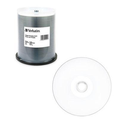 CD-R, 700MB, 52X, White Inkjet Printable, Hub Printable, 100/PK Spindle