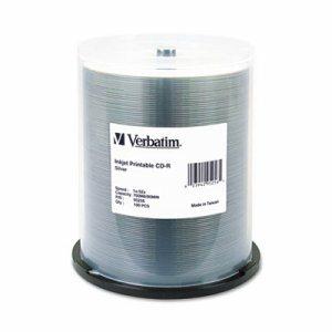 CD-R, 700MB, 52X, Silver Inkjet Printable, 100/PK Spindle