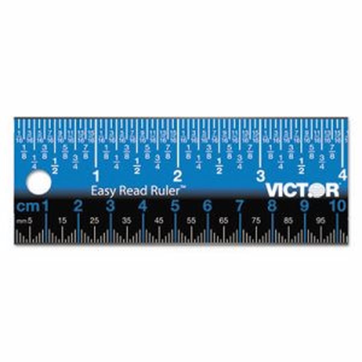 """Easy Read Stainless Steel Ruler, Standard/Metric, 18"""", Blue"""