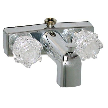 TUB/SHOWER DIV FAUCET W/ D-SPUD, 4IN, 2 KNOB, BRASS, CHROME