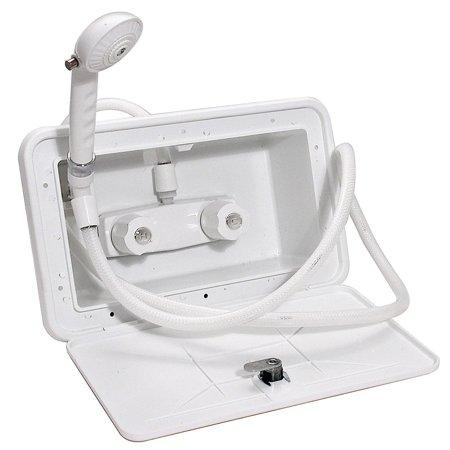 EXTERIOR SHOWER BOX WITH 59IN VINYL HOSE, 1/4 TURN, PLASTIC, WHITE