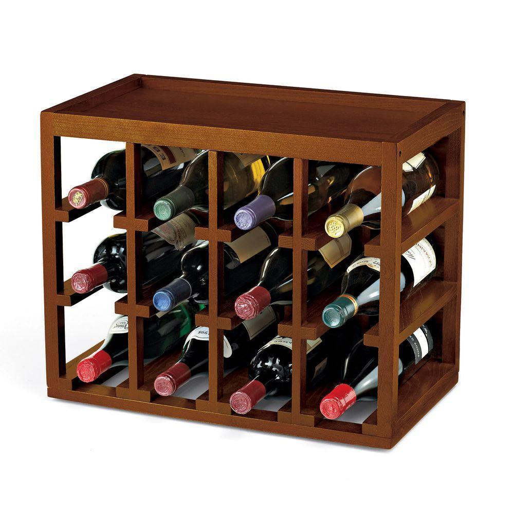 12 Bottle Cube-Stack Wine Rack (Walnut Stain)