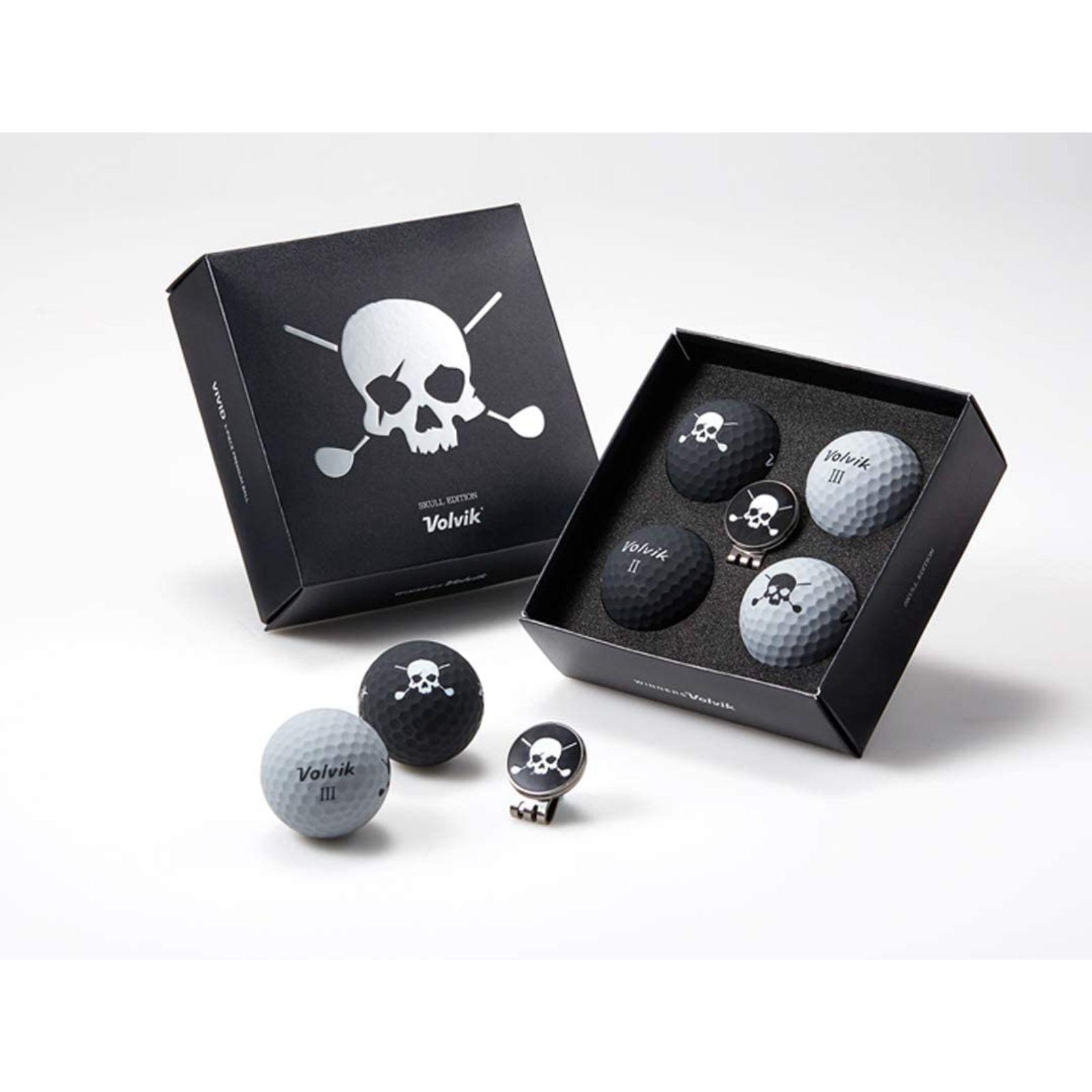 Volvik Skull Edition Golf Balls 4 Balls w Ball Marker Hat Clip