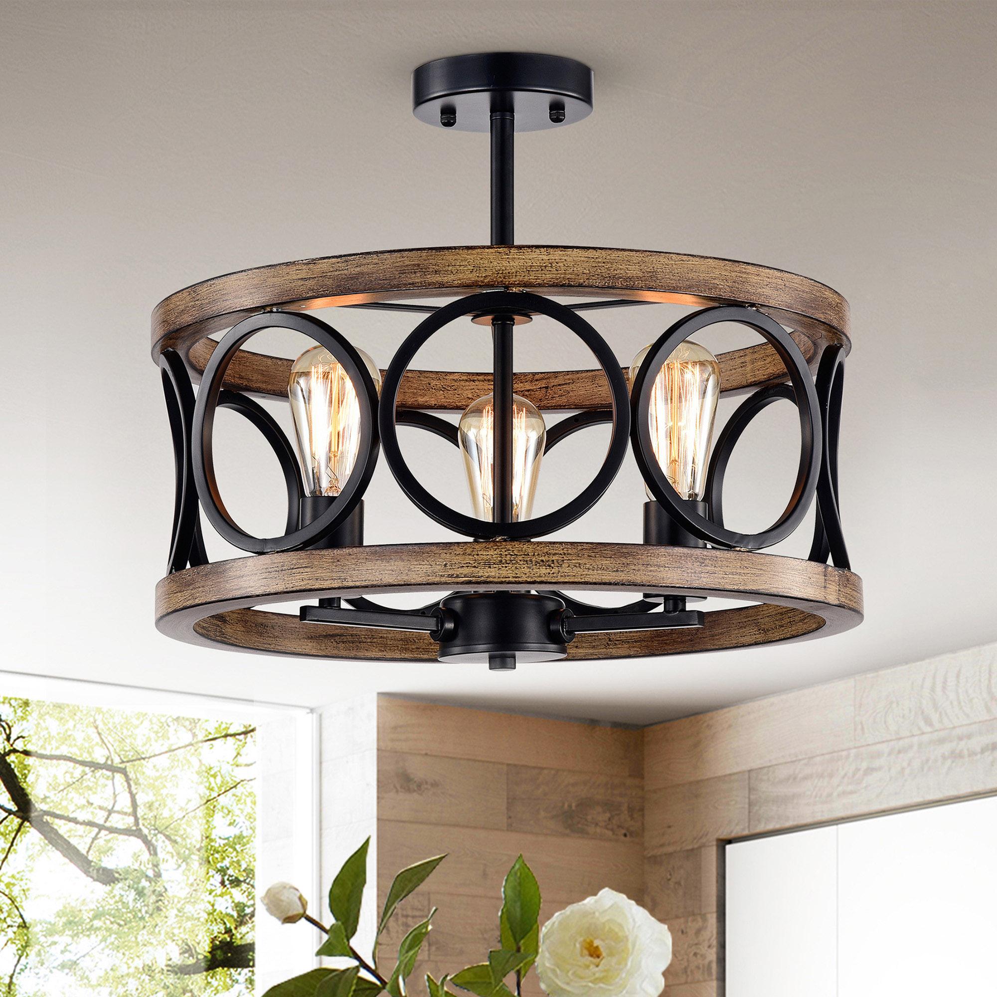 Shacer Matte Black/ Faux Wood 3-light Hood Design Ceiling Lamp