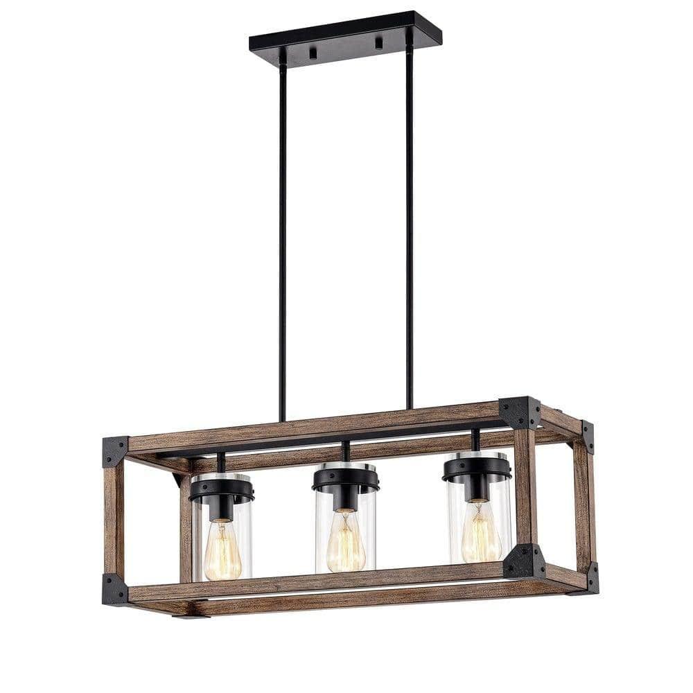 The Gray Barn Greta Grange 30-inch Forged Black and Wood Grain Linear Pendant