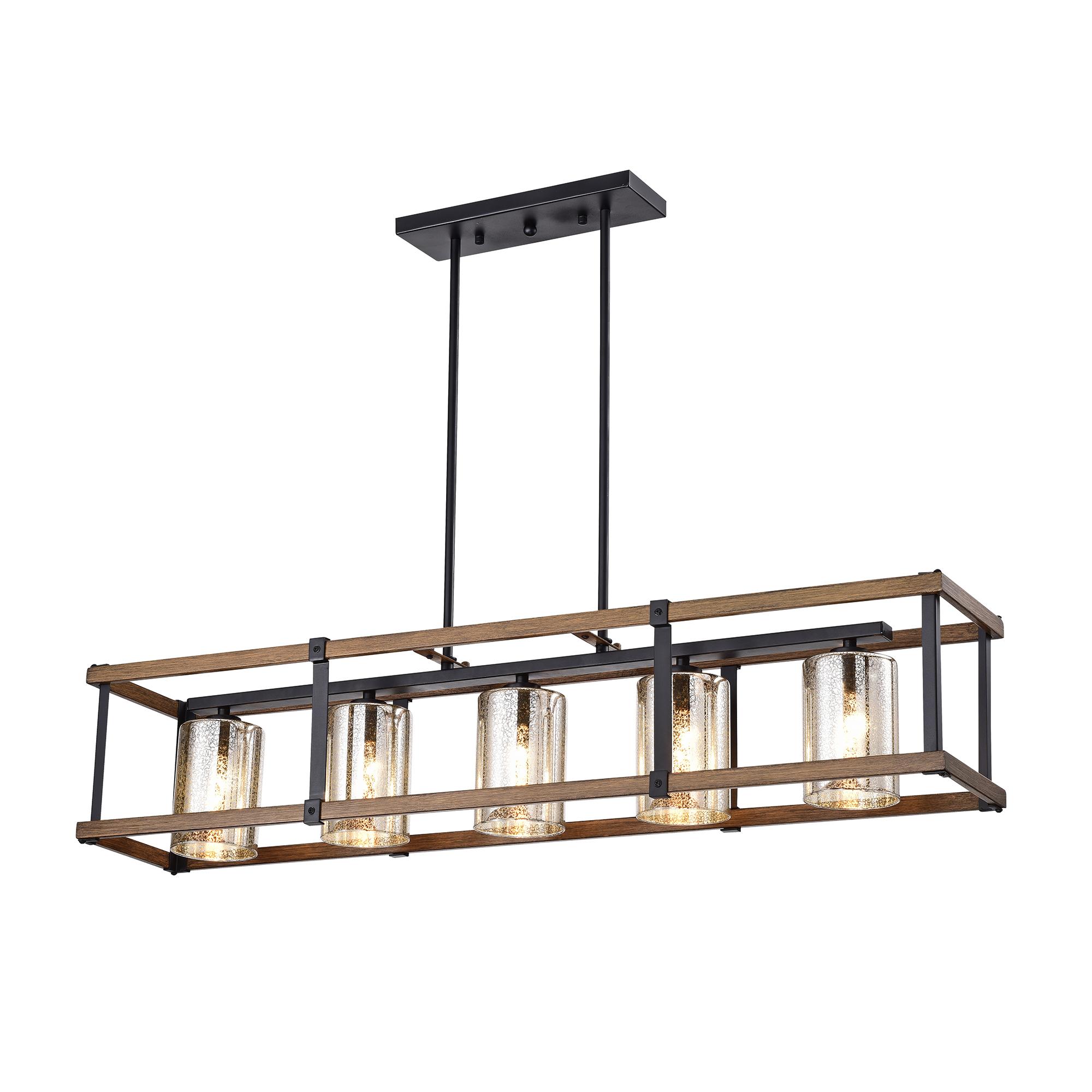 Desaki Faux Wood Grain/Matte Black 5-light Chandelier