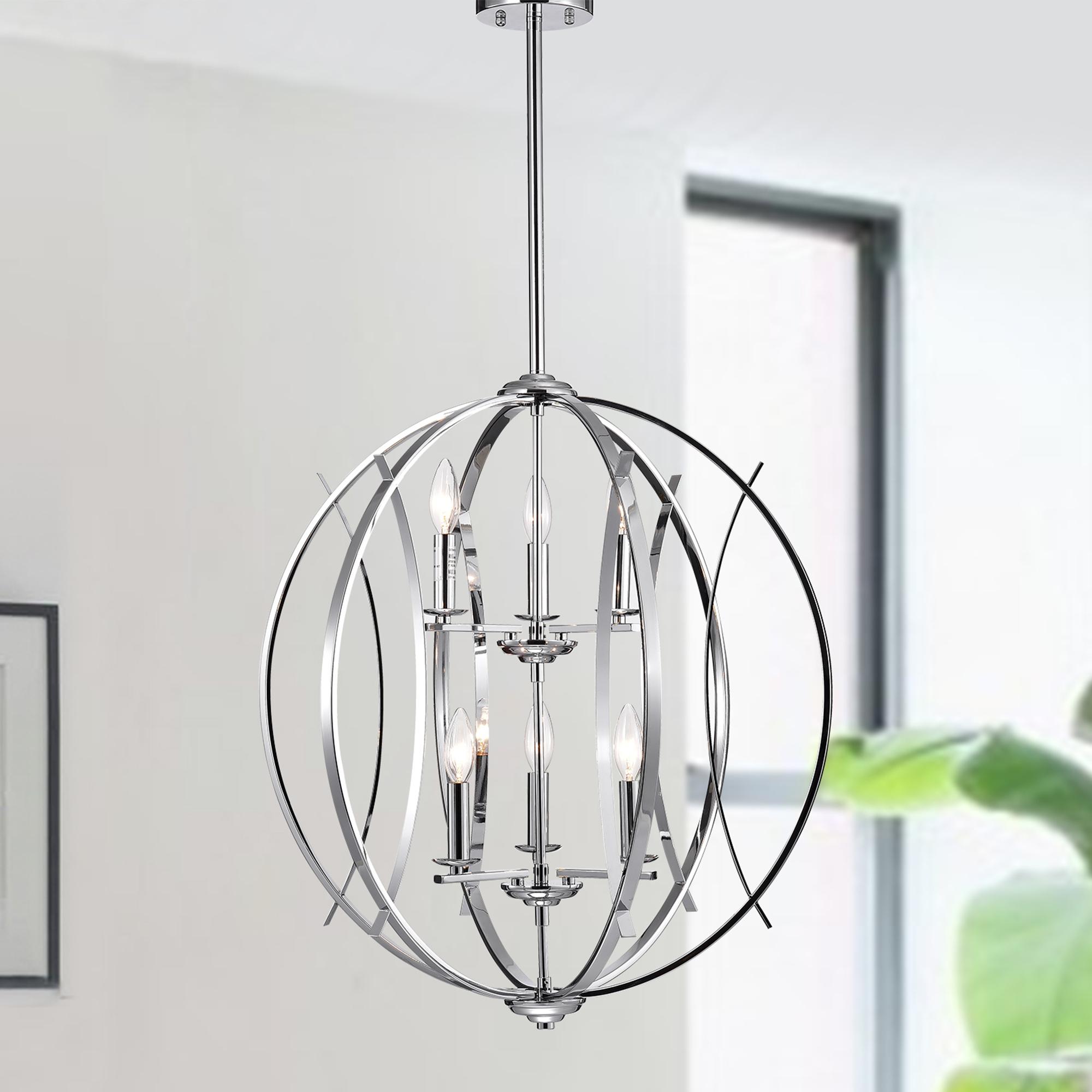Carshon Chrome 6-Light Two-Tier Globe Pendant