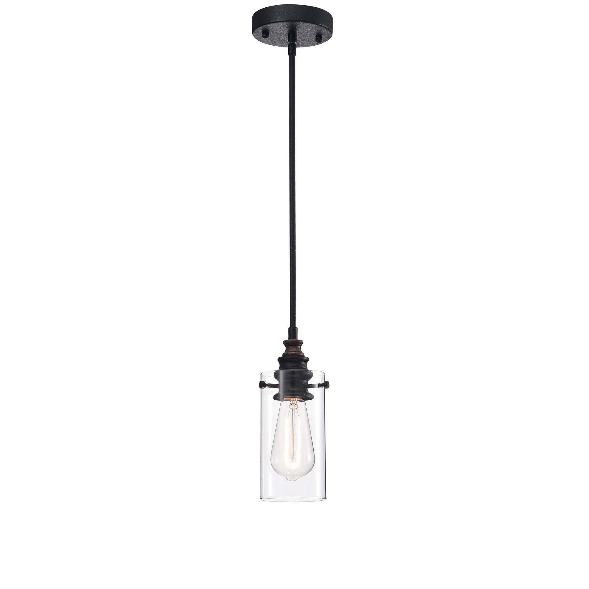 Tedosha 1-light Black Pendant Lamp with Glass Cylinder Shade (includes Edison Bulb)