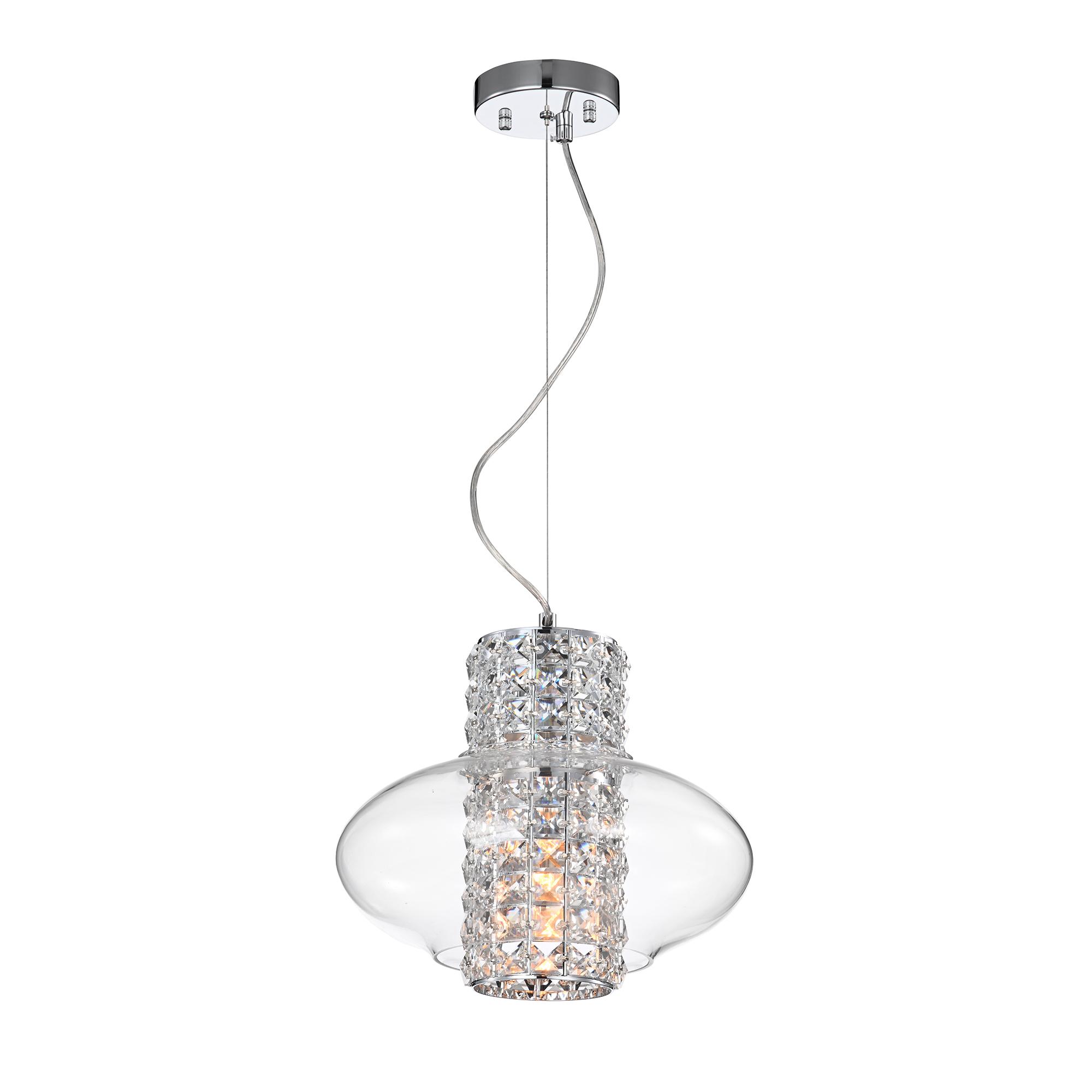 Silver Orchid Stewart 1-Light Chrome Pendant Lamp