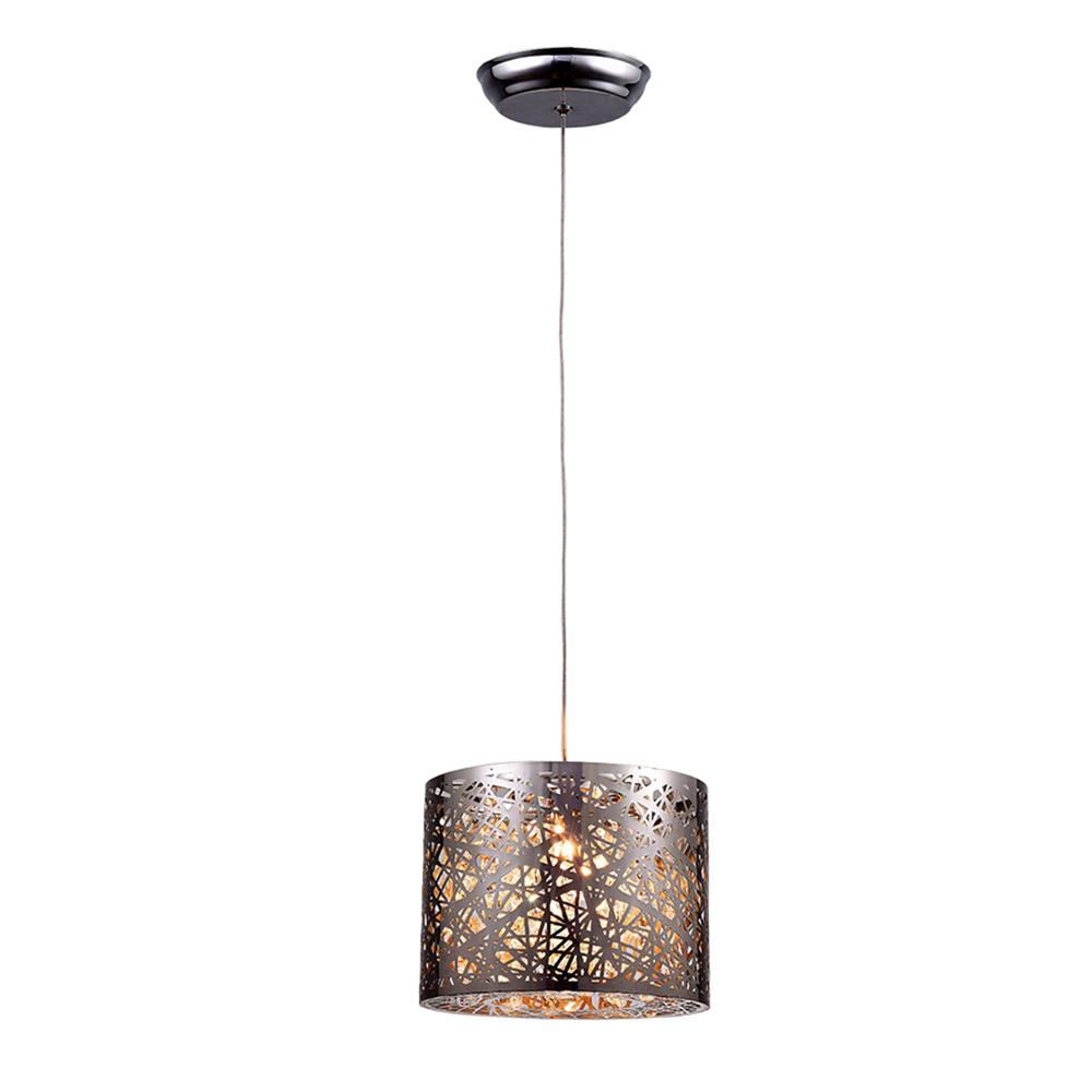 Evelyn 1-light Chrome 10-inch Crystal Pendant Lamp