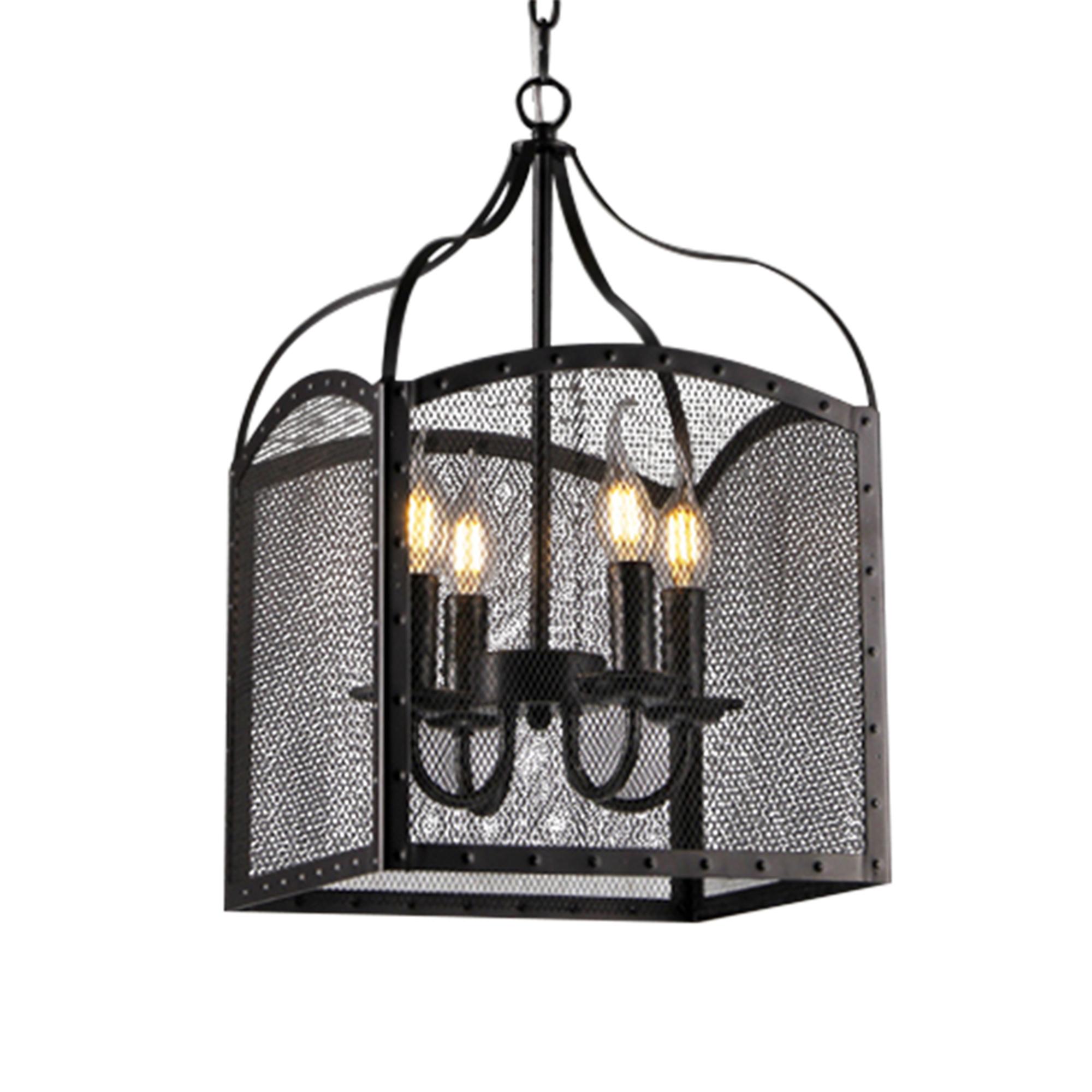 Cordelia Black 4-Light Pendant with Black shade