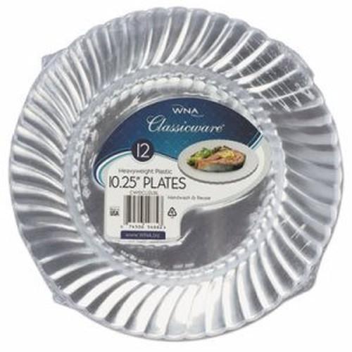 "Classicware Plastic Dinnerware Plates, 10 1/4"" Dia, Clear, 12/Pack"
