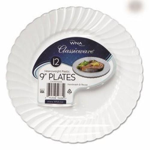 "Classicware Plastic Dinnerware Plates, 9"" Dia, White, 12/Pack"
