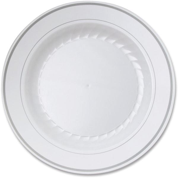 Masterpiece Plastic Plates, 10.25 in, White w/Silver Accents, Round, 120/Carton