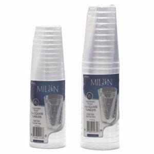 Milan Tumblers, 10 oz, Plastic, Clear, 16 Tumblers/Pack