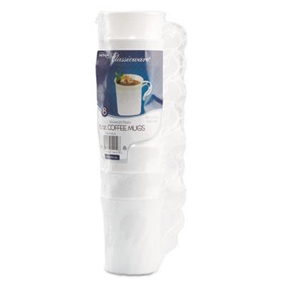 Classicware Plastic Coffee Mugs, 8 oz., White, 192/Carton