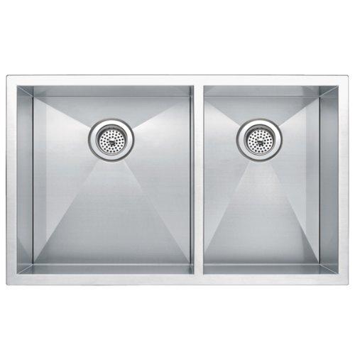 "33"" x 20"" Zero Radius 60/40 Double Bowl Stainless Steel Hand Made Kitchen Sink"