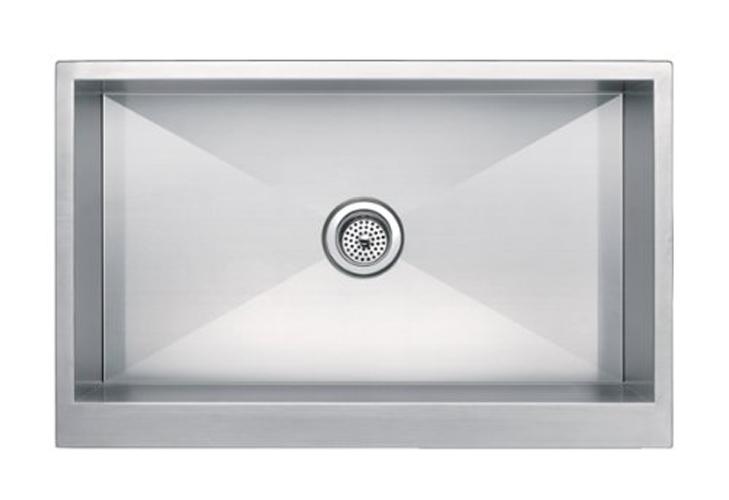 """33"""" x 21"""" Zero Radius Single Bowl Stainless Steel Hand Made Apron Front Farmhouse Kitchen Sink"""
