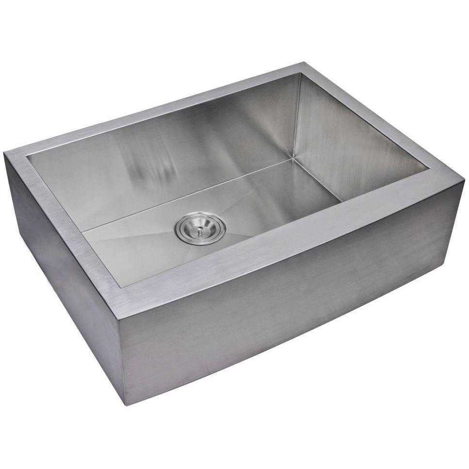 "30"" X 22"" Zero Radius Single Bowl Stainless Steel Hand Made Apron Front Kitchen Sink, Premium Scratc"
