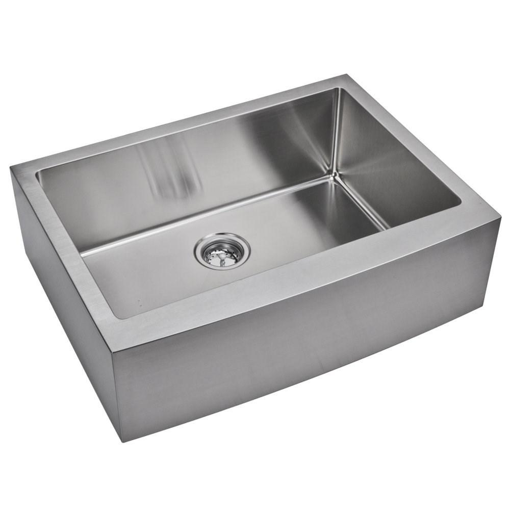 "30"" X 22"" 15 mm Corner Radius Single Bowl Stainless Steel Hand Made Apron Front Kitchen Sink, Premiu"