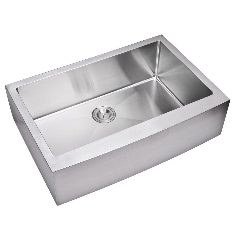 "33"" X 22"" 15 mm Corner Radius Single Bowl Stainless Steel Hand Made Apron Front Kitchen Sink, Premiu"