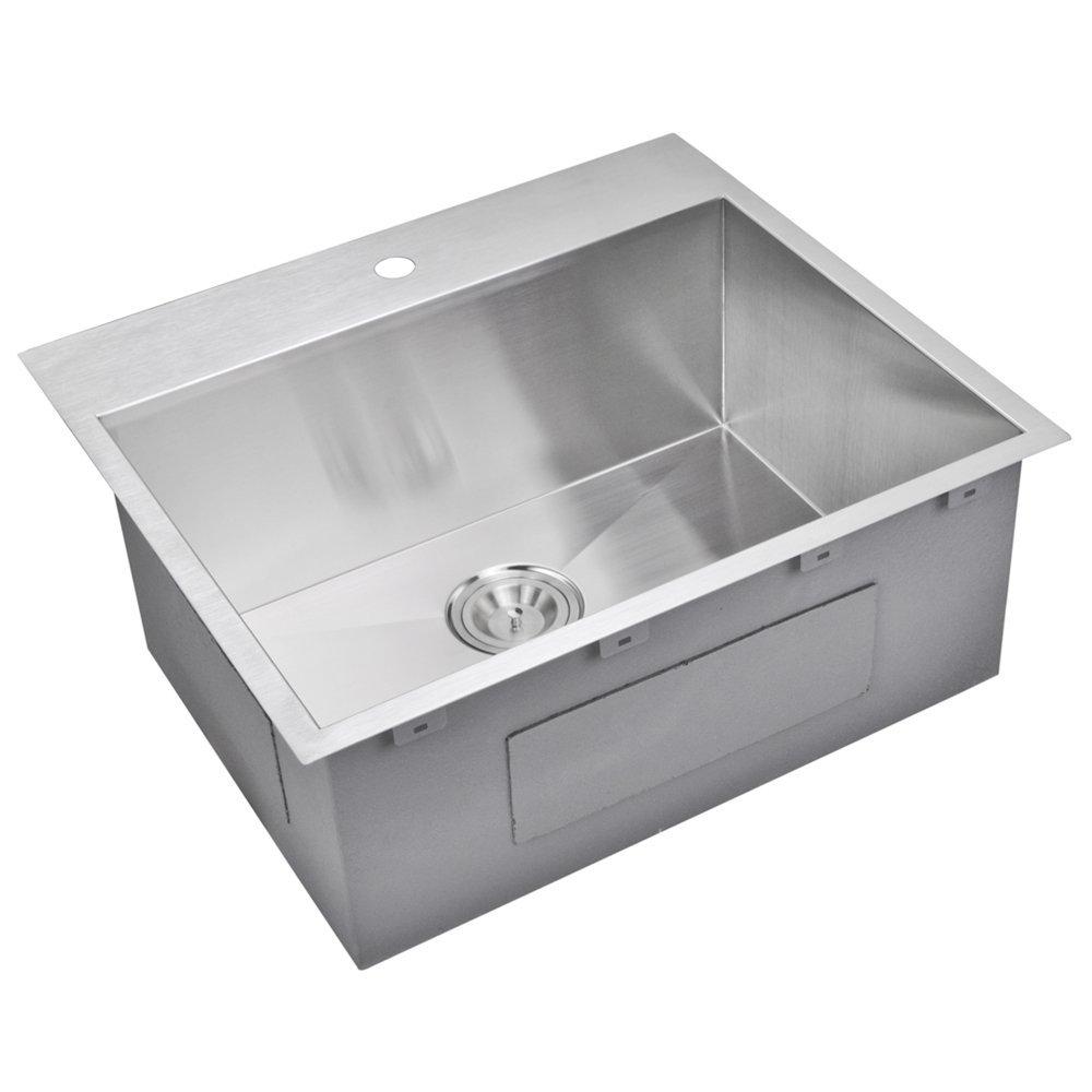 "25"" X 22"" Zero Radius Single Bowl Stainless Steel Hand Made Drop In Kitchen Sink With Drain, Strain"