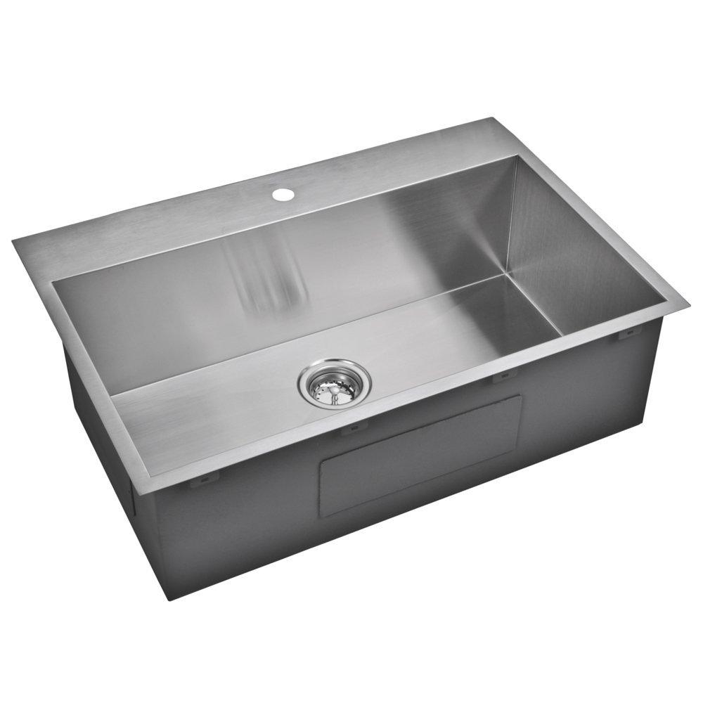 "33"" X 22"" Zero Radius Single Bowl Stainless Steel Hand Made Drop In Kitchen Sink With Drain, Strain"