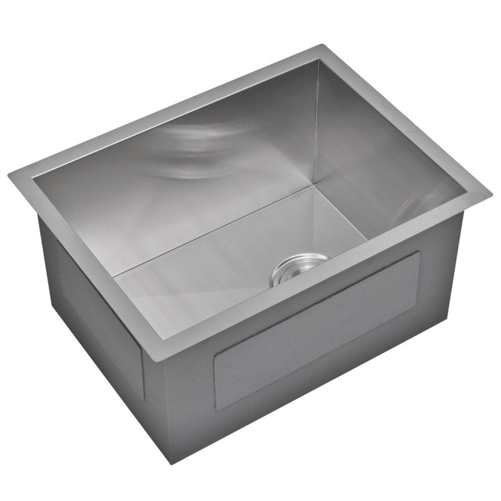 "15"" X 20"" Zero Radius Single Bowl Stainless Steel Hand Made Undermount Bar Sink With Drain, Strainer"