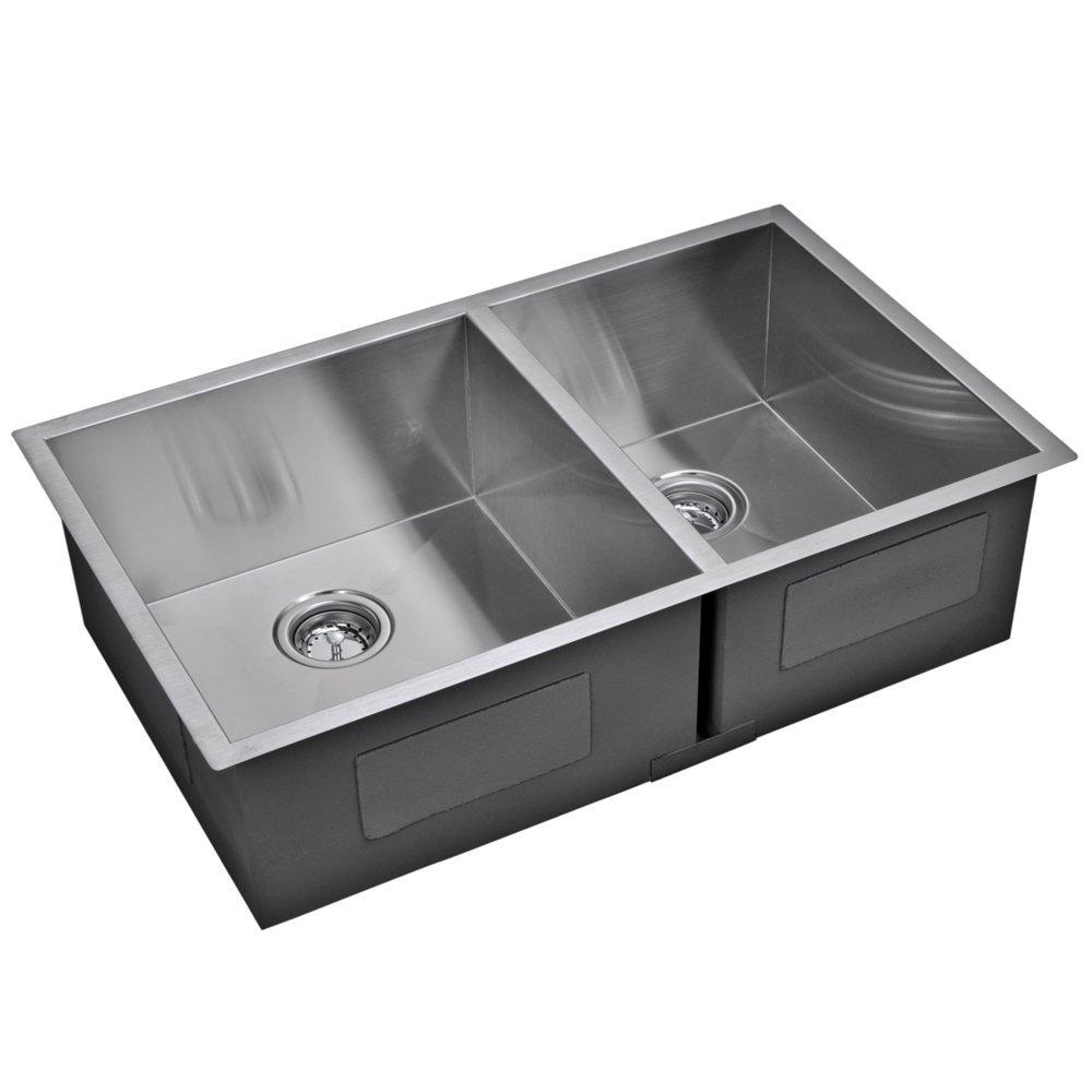 "33"" X 20"" Zero Radius 60/40 Double Bowl Stainless Steel Hand Made Undermount Kitchen Sink With Drain"