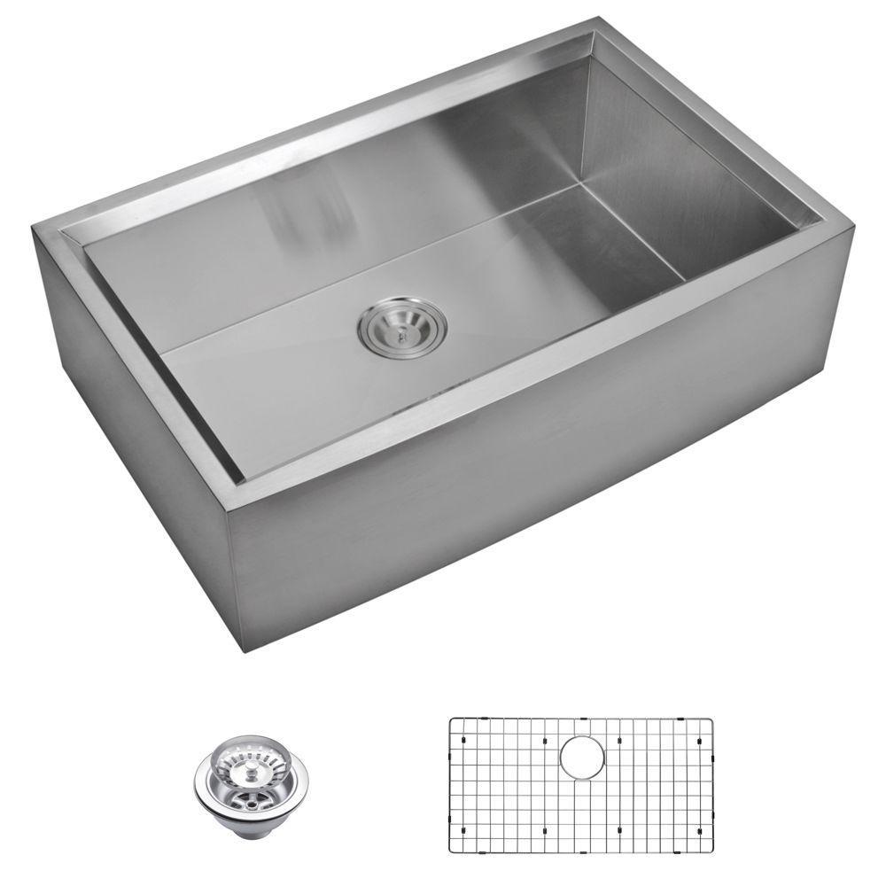 "33"" X 21"" Zero Radius Single Bowl Stainless Steel Hand Made Apron Front Kitchen Sink With Beveled Wa"