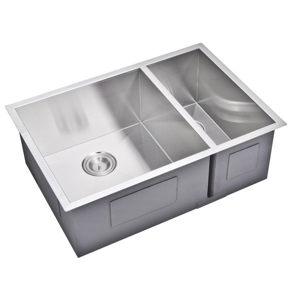 "29"" X 20"" Zero Radius 70/30 Double Bowl Stainless Steel Hand Made Undermount Kitchen Sink With Drai"