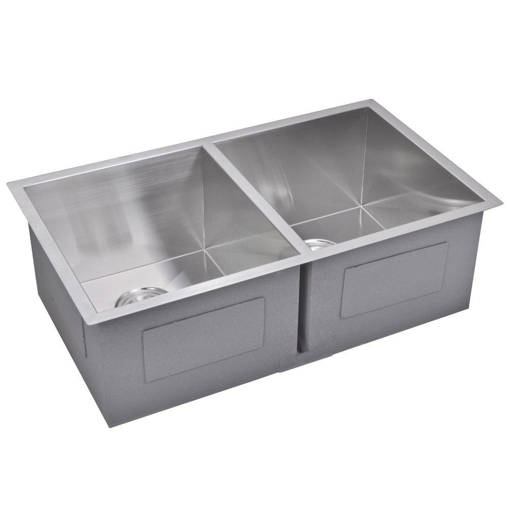 "31"" X 18"" Zero Radius 50/50 Double Bowl Stainless Steel Hand Made Undermount Kitchen Sink With Drai"