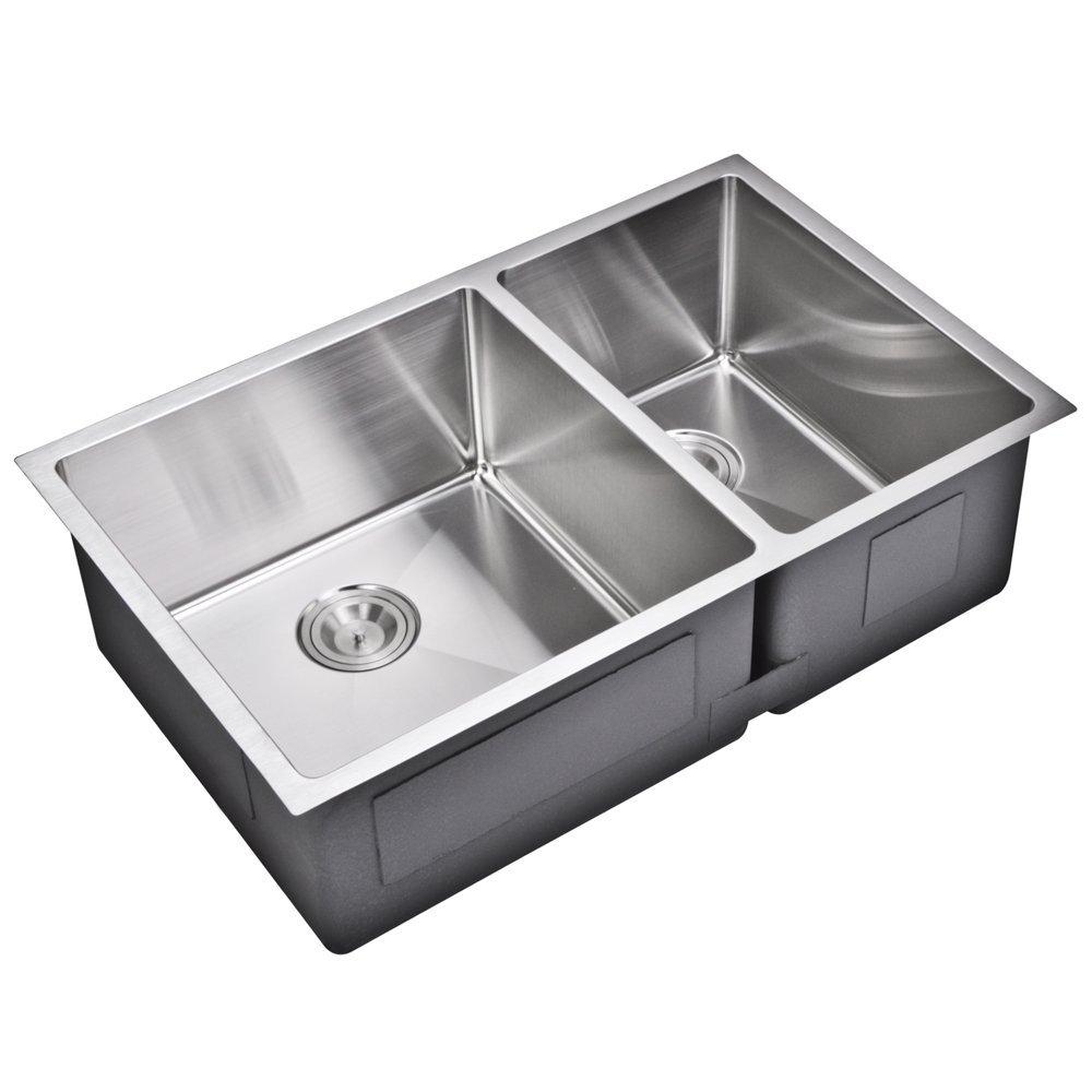 """33"""" X 20"""" 15 mm Corner Radius 50/50 Double Bowl Stainless Steel Hand Made Undermount Kitchen Sink W"""