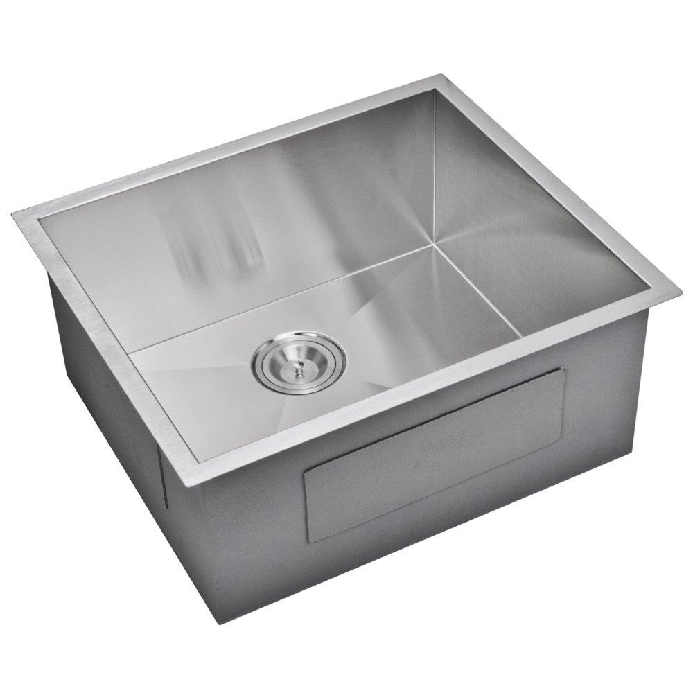 """23"""" X 20"""" Zero Radius Single Bowl Stainless Steel Hand Made Undermount Kitchen Sink With Drain, Str"""
