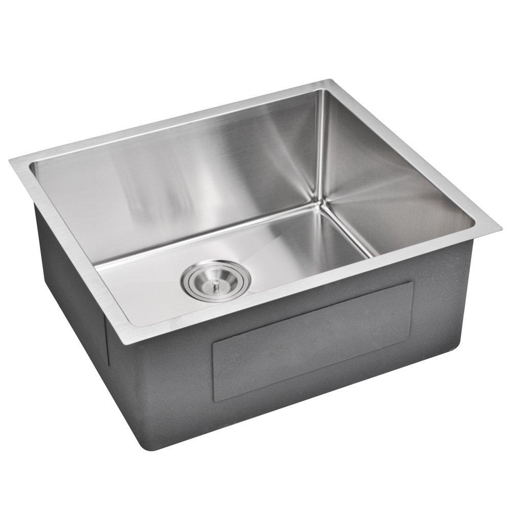 "23"" X 20"" 15 mm Corner Radius Single Bowl Stainless Steel Hand Made Undermount Kitchen Sink With Dr"