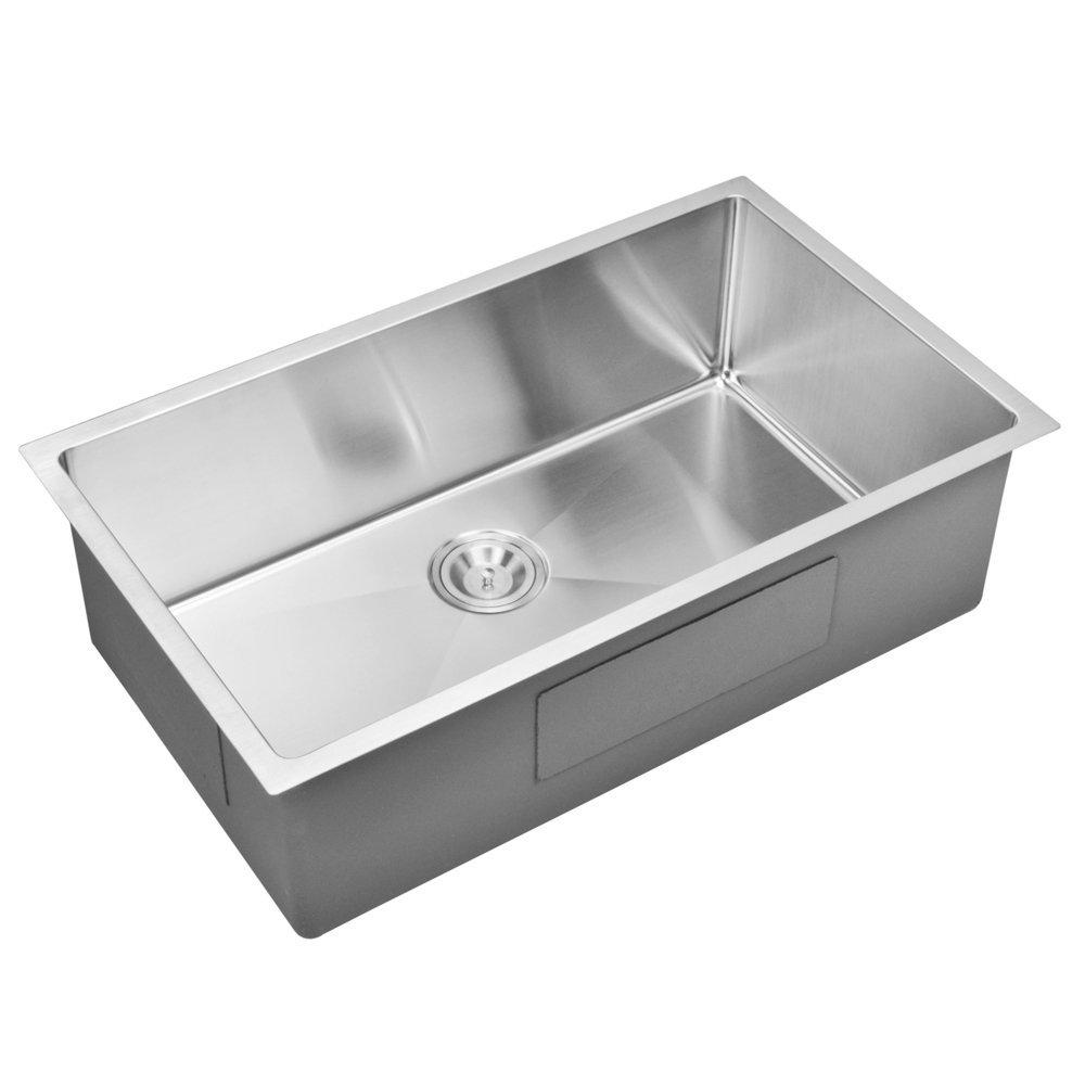 "32"" X 19"" 15 mm Corner Radius Single Bowl Stainless Steel Hand Made Undermount Kitchen Sink With Dr"