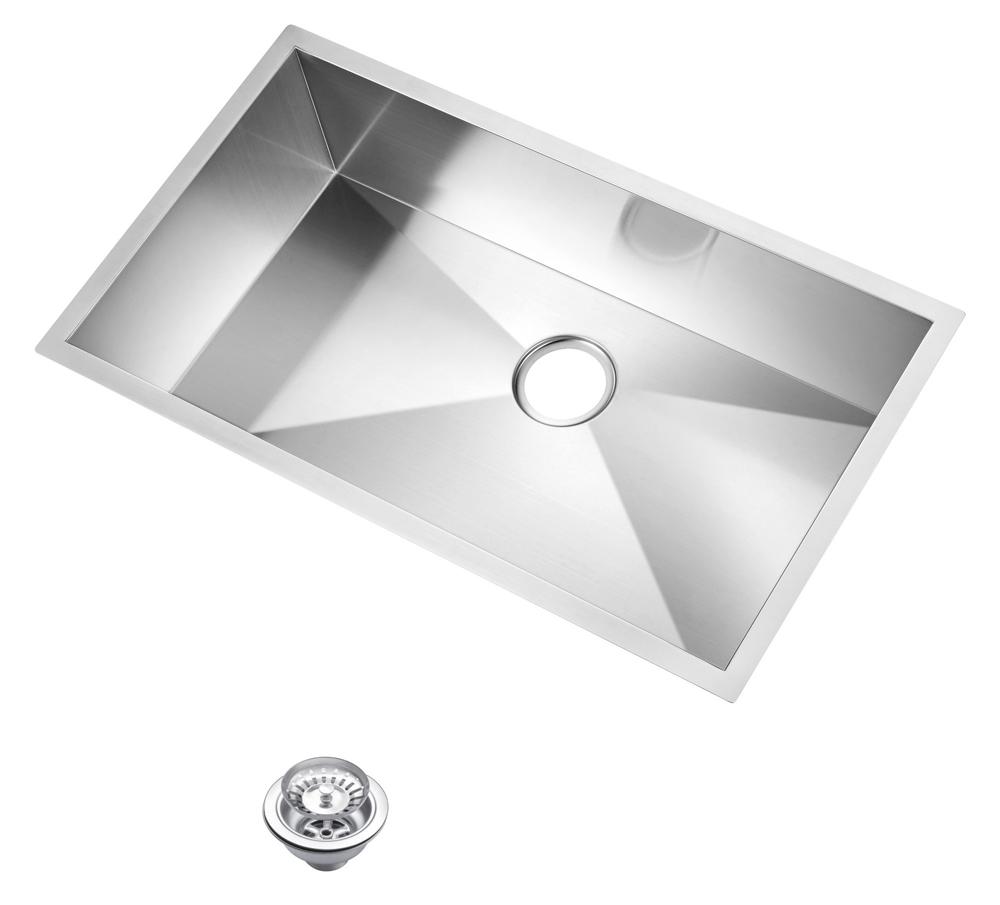 "33"" X 19"" Zero Radius Single Bowl Stainless Steel Hand Made Undermount Kitchen Sink With Drain & St"