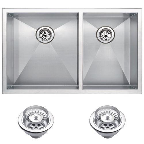 "33"" X 20"" Zero Radius 60/40 Double Bowl Stainless Steel Hand Made Undermount Kitchen Sink With Drains"