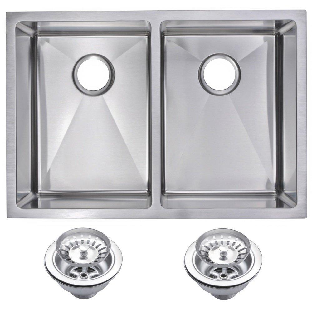 "29"" X 20"" 15 mm Corner Radius 50/50 Double Bowl Stainless Steel Hand Made Undermount Kitchen Sink Wi"