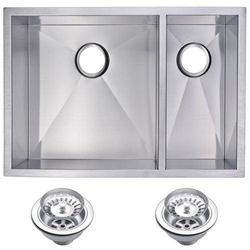 "29"" X 20"" Zero Radius 70/30 Double Bowl Stainless Steel Hand Made Undermount Kitchen Sink With Drain"