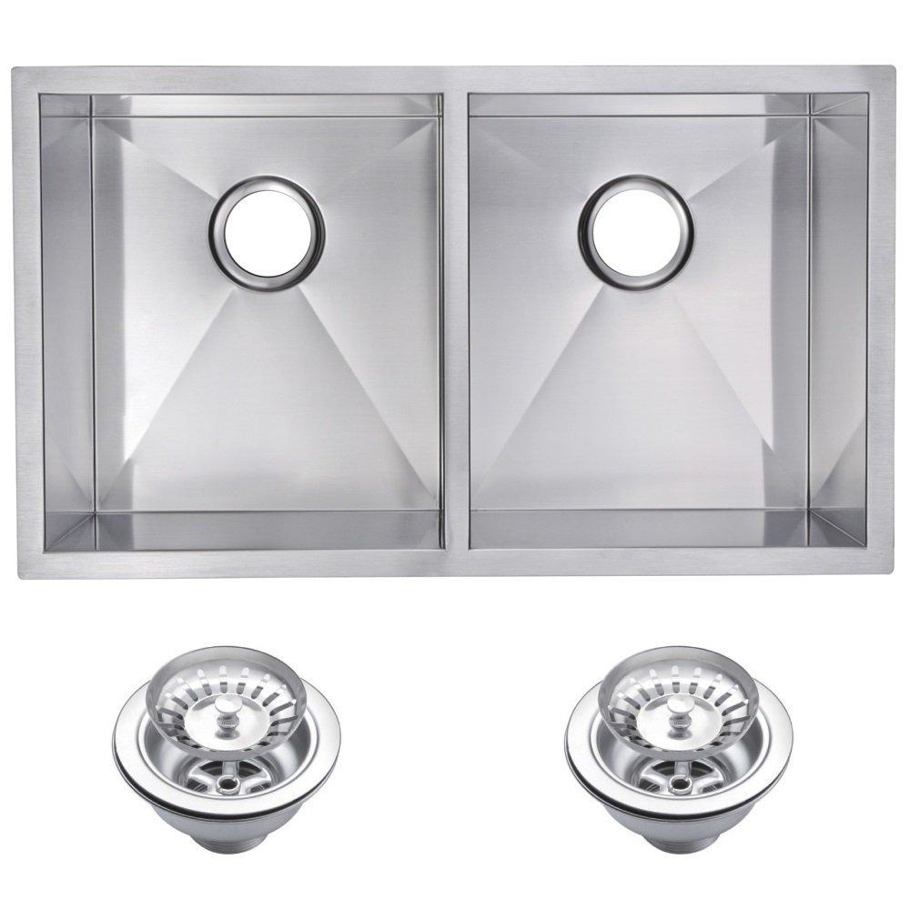 "31"" X 18"" Zero Radius 50/50 Double Bowl Stainless Steel Hand Made Undermount Kitchen Sink With Drain"