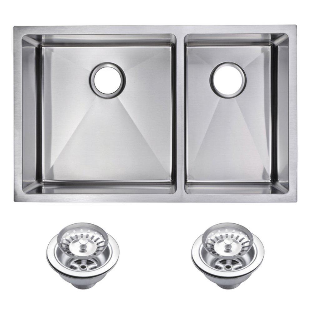 "33"" X 20"" 15 mm Corner Radius 50/50 Double Bowl Stainless Steel Hand Made Undermount Kitchen Sink Wi"