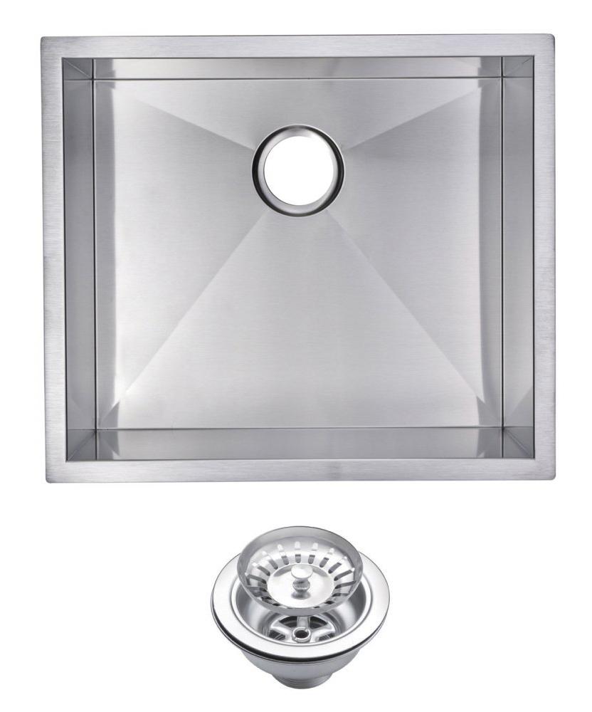 "23"" X 20"" Zero Radius Single Bowl Stainless Steel Hand Made Undermount Kitchen Sink With Drain & S"