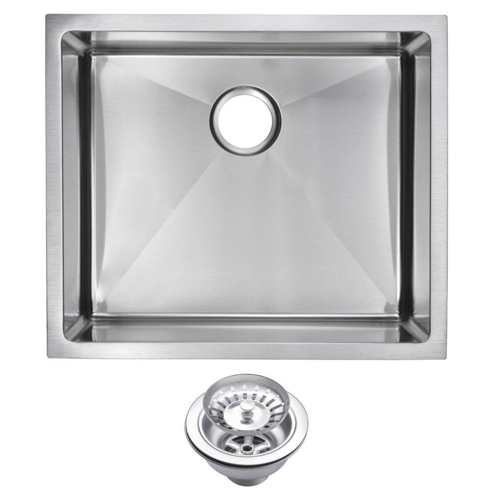"23"" X 20"" 15 mm Corner Radius Single Bowl Stainless Steel Hand Made Undermount Kitchen Sink With Dra"